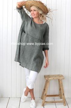 HAPPY Linen Tunic, PINE GREEN