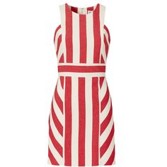 Rental Milly Red Maya Stripe Dress (919.310 IDR) ❤ liked on Polyvore featuring dresses, striped cotton dress, cotton dresses, stripe dress, red sleeveless dress and striped dresses