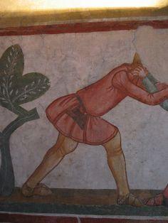 Interesting view of side gores  and seams. Mid 14th century. Casa delle Guardie, affresco, metà XIV sec - Castello di Avio, Sabbionara di Avio.