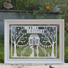 Personalised Vintage Wedding & Anniversary Framed Papercut - a unique first year wedding anniversary gift idea for her!