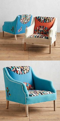 Crewel embroidered seating with Suzani-inspired medallions.