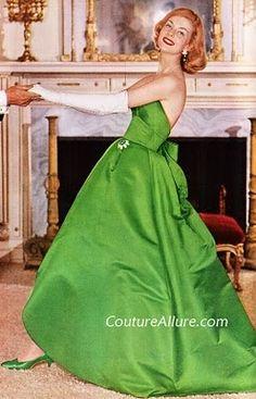 Green - Vintage Duchess Silk Satin Gown