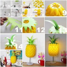 Make upcycling garden decorations yourself - 70 very simple garden ideas with a WOW effectdecorating ideas make old spoons yourselfIngenious and fascinating plastic spoon craft for your home Homesthetics - inspiring ideas for your home. Plastic Spoon Lamp, Plastic Spoon Crafts, Plastic Bags, Recycled Crafts, Diy And Crafts, Pineapple Lamp, Spoon Art, Egg Carton Crafts, Diy Tumblr