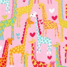pink Michael Miller fabric Giraffe Love heart  beautiful pink designer fabric with colourful giraffes and hearts from the USA