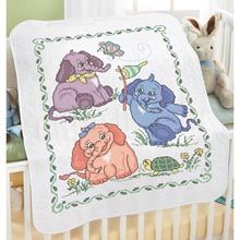 Baby by Herrschners� Baby Elephants Baby Quilt Stamped Cross-Stitch Kit