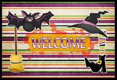 Witch Costume and Broom on Stripes Halloween 18x27 Doormat