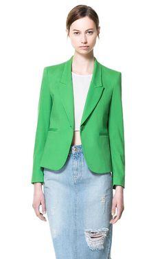 Green Pique Blazer | Zara