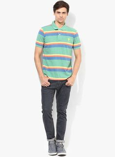 1acdc038259 Buy U.S. Polo Assn. Green Striped Polo T-Shirt Online - 4366592 - Jabong