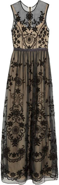 Needle & Thread Embroidered silk-organza gown