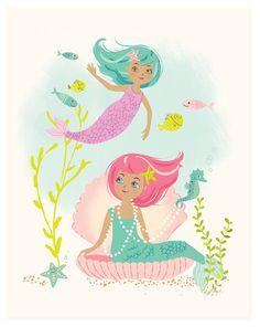 mermaids  Nursery wall art for girls by SeaUrchinStudio on Etsy, $20.00