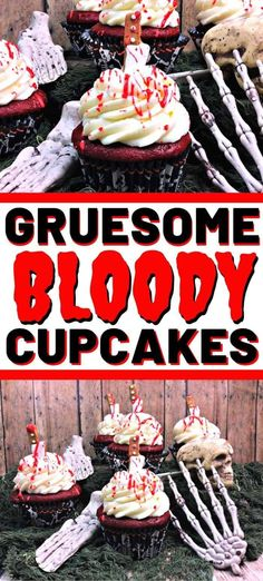 Stabbed and dripping with blood, desserts don't get more gruesome than these bloody cupcakes. Also great for a or party. Stabbed and dripping with blood, desserts don't get more gruesome than these bloody cupcakes. Also great for a or party. Halloween Desserts, Halloween Cupcakes, Easy Halloween, Halloween Treats, Cheap Clean Eating, Clean Eating Snacks, Baking Recipes, Dessert Recipes, Cupcake Recipes
