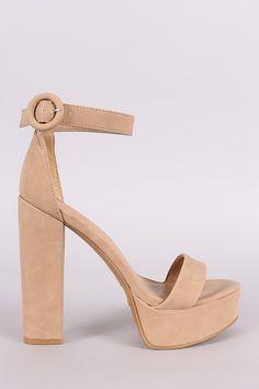 8b174376710 Bamboo Nubuck Ankle Strap Platform Chunky Heel