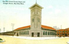 """bay city michigan history   ... view of the """"new"""" Grand Trunk depot and freight house at Bay City, MI"""