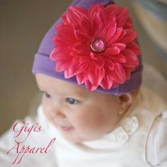 Adorable lavender soft baby hat with removable flower accessory.  GigisApparel