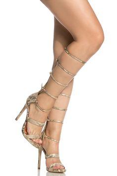 Gold Faux Snake Skin Strappy Gladiator Heels