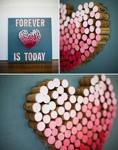 30 beautiful samples made with bottle cork. You can prepare samples with bottle cork ideas in your h Wall Art Crafts, Cork Crafts, Art Wall Kids, Diy And Crafts, Crafts For Kids, Saint Valentine, Valentines Day Hearts, Valentine Crafts, Cork Ornaments