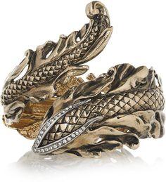 Roberto Cavalli Gold Swarovski Crystal Leaf and Snake Bracelet