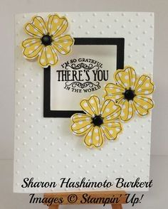Stamps: Flower Shop bundle, Chalk Talk Ink: Basic Black, VersaMark marker Paper: Whisper White, Basic Black, Polka Dot Parade DSP Punches: Pansy punch Big Shot: Squares Collection Framelits, Perfect Polka Dot folder Extras: Black embossing powder  Have a great one and wish me luck with