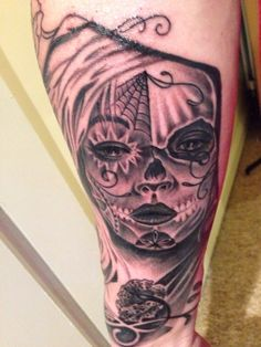 #tattoo#black and grey#sugar skull#new