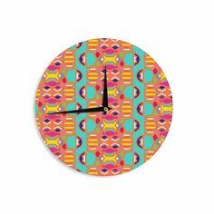"Miranda Mol ""Summer Fun"" Treal Orange Wall Clock from KESS InHouse"