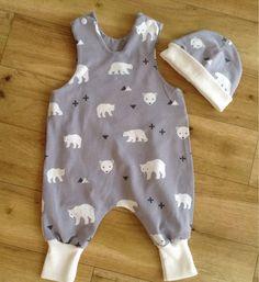 Polar Bear Romper, Polar Bear Harem Romper, Grey bear Romper, Polar Bear Baby Gift, cute Bear Romper by Islaboohandmade on Etsy