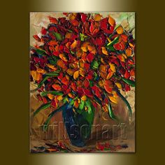 Floral Canvas Modern Flower Oil Painting Textured Palette Knife Original Art 12X16 by Willson Lau