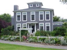 Arbor House Lane: Flowers on the Deck Dark Grey Houses, Big Red Barn, English Cottage Style, Front Deck, Garden Yard Ideas, Front Yard Landscaping, Inspired Homes, Architecture Details, House Colors
