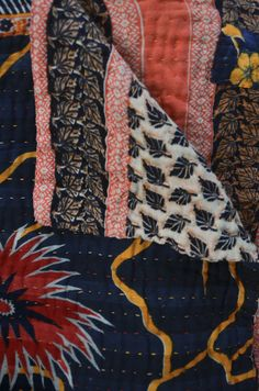Hand stitched coverlet from Bangladesh