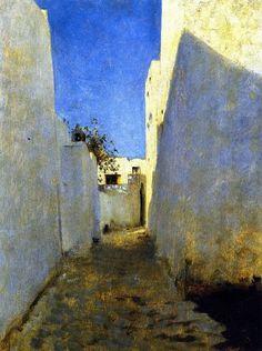 "John Singer Sargent (peintre américain - 1856-1925) ""A Moroccan Street Scene"" Maroc 1880"