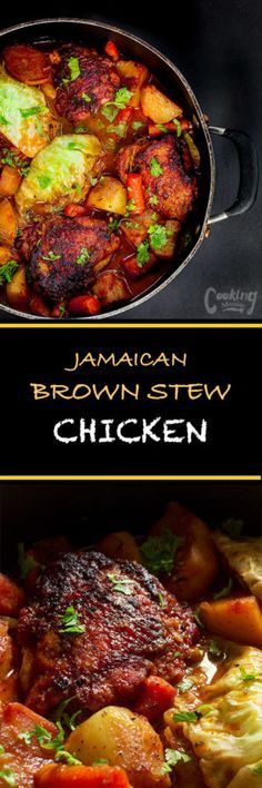 Jamaican brown stew chicken is perhaps as common of a dish as jerk chicken. The chicken and vegetables are slow braised so they are tender and flavorful. (Chicken And Vegetable Recipes) Jamaican Cuisine, Jamaican Dishes, Jamaican Recipes, Jamaican Soup, Jerk Chicken, Stewed Chicken, Chicken Curry, Chicken Skin, Cooked Chicken