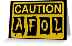 """""""Caution AFOL Sign by Customize My Minifig"""" Greeting Cards & Postcards by ChilleeW 