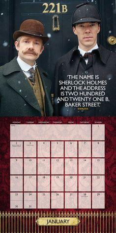 Sherlock 2017 Wall Calendar - $8 - Sherlock Christmas Gift Ideas! - http://amzn.to/2a6c3W3