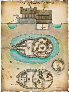 Fantasy Maps by Robert Lazzaretti - The Clockwork Fortress Fantasy Map, Fantasy World, Medieval Fantasy, Building Map, Building Toys, Pathfinder Maps, Rpg Map, Map Layout, Dungeon Maps