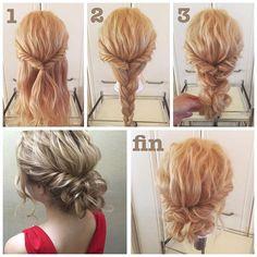 #ヘアアレンジ解説 * 5分で完成ゆるっとシニヨンスタイル✨ * ①サイドをねじって後ろで結び、くるりんぱします。 * ②残った髪を三つ編みにします。 * ③三つ編みをクルクルと上に巻き込んでピンでとめたら出来上がりです。 *…