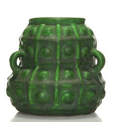 Unmarked Arts & Crafts vase with three small loop handles done in a rich green mat glaze.