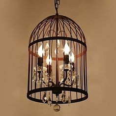 Vintage rust birdcage pendant lamp which in the Amercian style in the rustic color – GBP £ 284.39