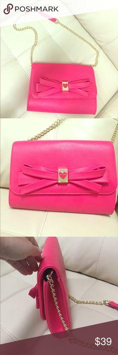 Beautiful new Betsey Johnson bow crossbody purse Beautiful new Betsey Johnson pink bow crossbody purse, new without tags Betsey Johnson Bags Crossbody Bags
