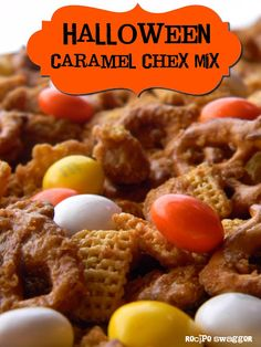 Halloween Caramel Chex Mix #recipe #autumn #fall