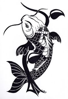 Black Koi tattoo design