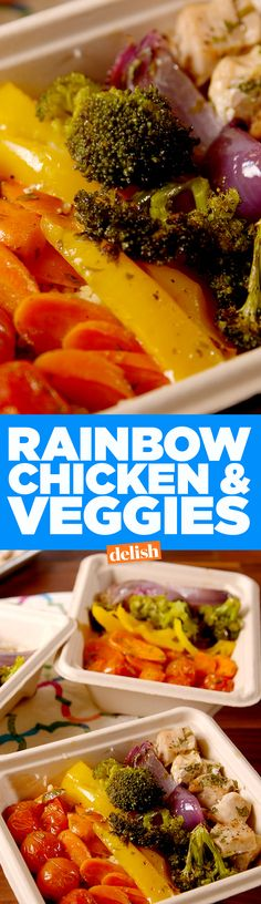 Rainbow Chicken and Veggies makes meal prep suck so much less. Get the recipe on Delish.com.