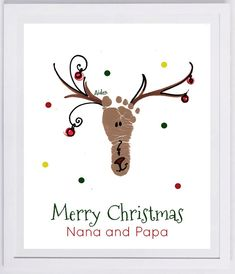 Reindeer Footprint Wall Art - your child's actual prints! grandpa and grandpa christmas gift, baby's first christmas, footprint kit Custom Reindeer Footprint Keepsake. Made from your child's actual footprint! Baby Christmas Crafts, Babies First Christmas, Christmas Projects, Christmas Fun, Holiday Crafts, Holiday Decor, Hand Print Christmas Cards, Handprint Christmas Art, Christmas Card Designs
