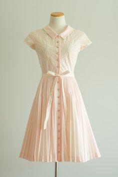 Jahrgang 1950 s Kleid / 50er Jahre pink von HungryHeartVintage