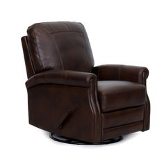 Add a touch of sleek, contemporary style to your home with the Conroy Wall Recliner. This gorgeous leather-inspired recliner is covered in dark brown faux leather. With durable wood and metal construction, this quality piece will have you relaxing in style for years to come on its padded cushions. Conroy Brown Faux Leather Swivel Wall | Weekends Only Furniture and Mattress