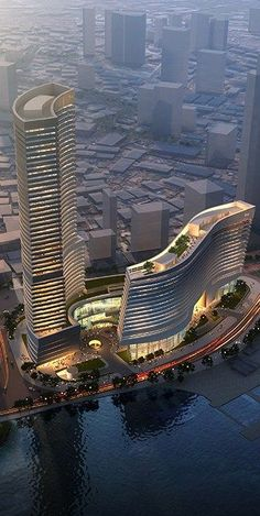 Xiamen Eton Center North Tower, Xiamen, China designed by NBBJ Architects :: 51 floors, height - Hotels Design Architecture Architecture Design, Futuristic Architecture, Beautiful Architecture, Architecture Facts, Futuristic Design, Museum Architecture, Spanish Architecture, Xiamen, Unusual Buildings