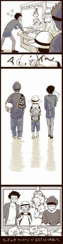 Kidd, Law et Luffy