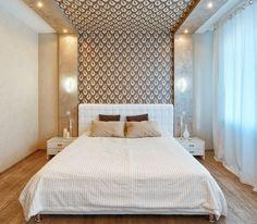 déco chambre adulte avec des spots encastrés et papier peint