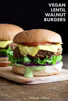 Vegan Lentil Walnut Burgers. Easy Flavorful Burger patties with avocado ranch. Vegan Burger Recipe. Soyfree Easily gluten-free | VeganRicha.com