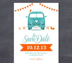 VINTAGE VAN & FLAGS Wedding Printable Save the Date - fun and cute save-the-date - Kombi, vw bus