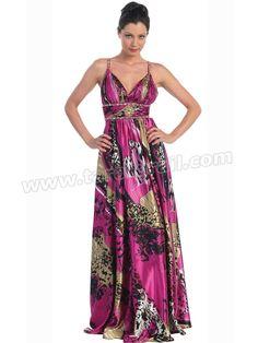 Rhinestone Shoulder Straps Low V-neckline Full Length Print Evening Dresses