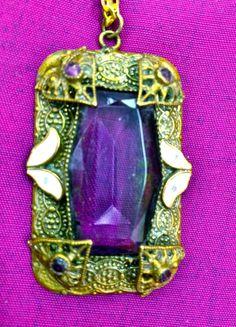 Vintage Edwardian Czech Amethyst Purple Art Glass in by HoiPollois, $199.00 #vjse